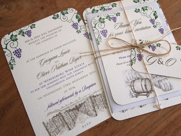 Rustic Vineyard Wedding Invitation with Information Sheet and Reply Card tied with twine and finished with a Tag /Rustic / Wedding / Vineyard / Vintage / Purple / Green / Grapes / Wine