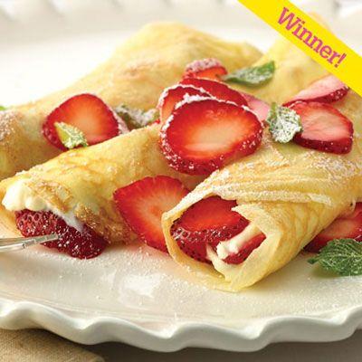 Strawberry cream cheese campfire crepes