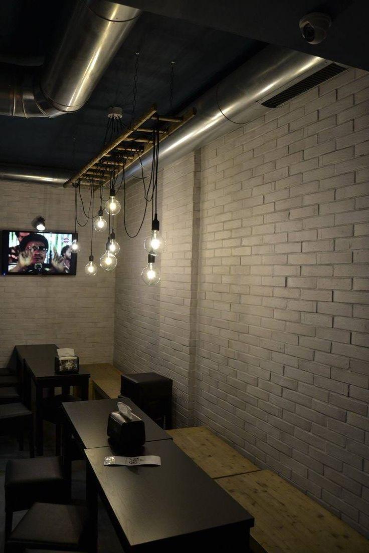King Coffee Food, Cool Stuff  Industrial design food fast food shop vintage light bumb stair white brick wall