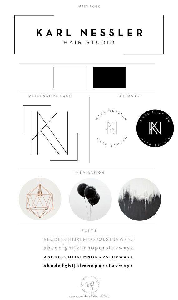 Marca logotipo minimalista paquete - pelo minimalista moderno aparador Studio salón fotografía Logo marca de agua Submark alternativos moda Boutique