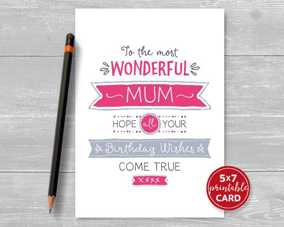 Printable Birthday Card For Mum To The Most by TheLittleRedCherry