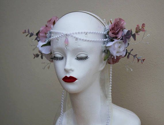 Beautiful Bridal/Elven Pink and White Flower Fairy Headdress