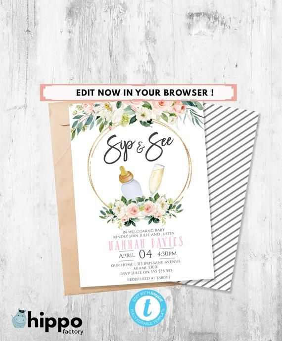 Sip And See Invitation Girl Meet And Greet Sip N See Etsy Sip And See Invitations Sip And See Party Invite Template
