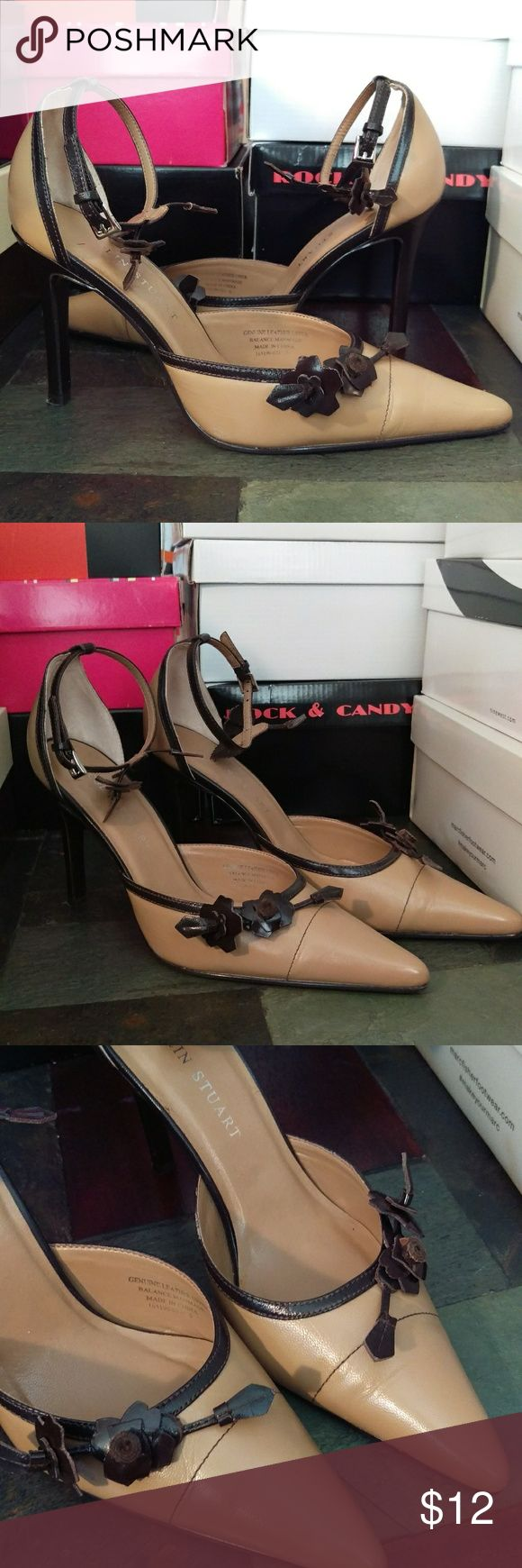 Pointed Toe Pumps Colin Stuart tan and brown pointed toe pumps. Floral detail on ankle strap and top of shoe. Worn once, no large visible scuff marks. Minor wear on heels. Colin Stuart Shoes Heels