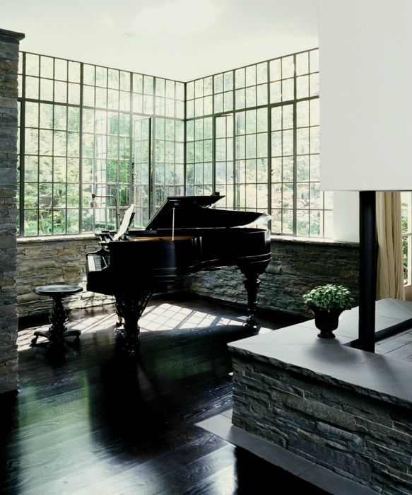 open space for sound to travel and a window with a wonderful view for inspiration