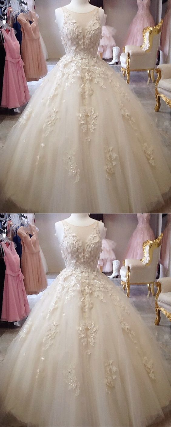 Scoop neckline tulle ball gowns quinceanera dresses lace embroidery