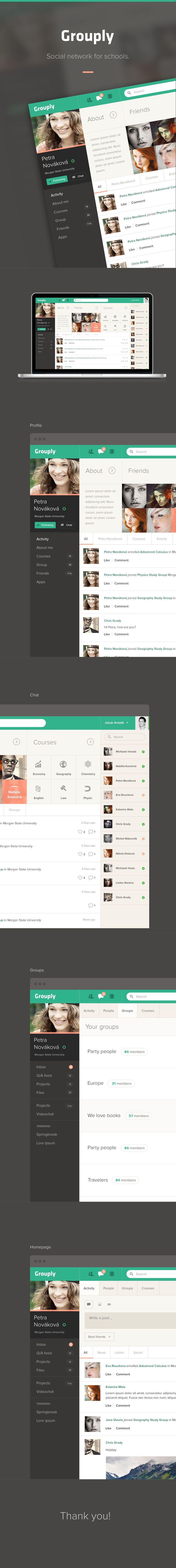 Grouply UI/UX, Web Design #flat