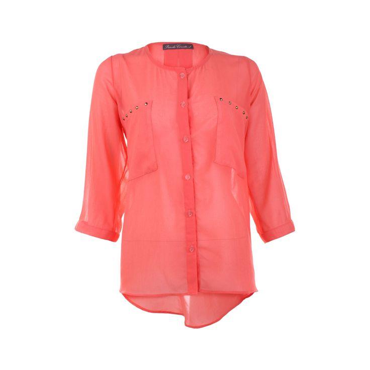 Blusa Gasa Con 2 Bolsillos, Priscila Corvetto, $20.990. Blusa de gasa color sandia con bolsillos, es ideal para ir a trabajar combinándola con un pantalón blanco.