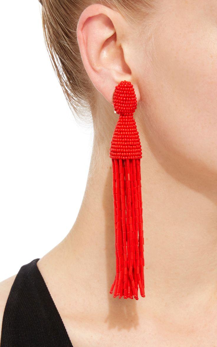 Long Beaded Tassel Clip Earrings in Ruby Synthetic Material Oscar De La Renta begDJG