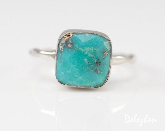 Turquoise Ring Zilver - December Birthstone Ring - de Ring van de Solitaire - stapelbaar steen Ring - Zilveren Ring - kussen Ring
