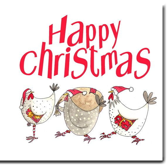 Hen Christmas Card  Happy Christmas Funny Chicken от SarahBoddyUK