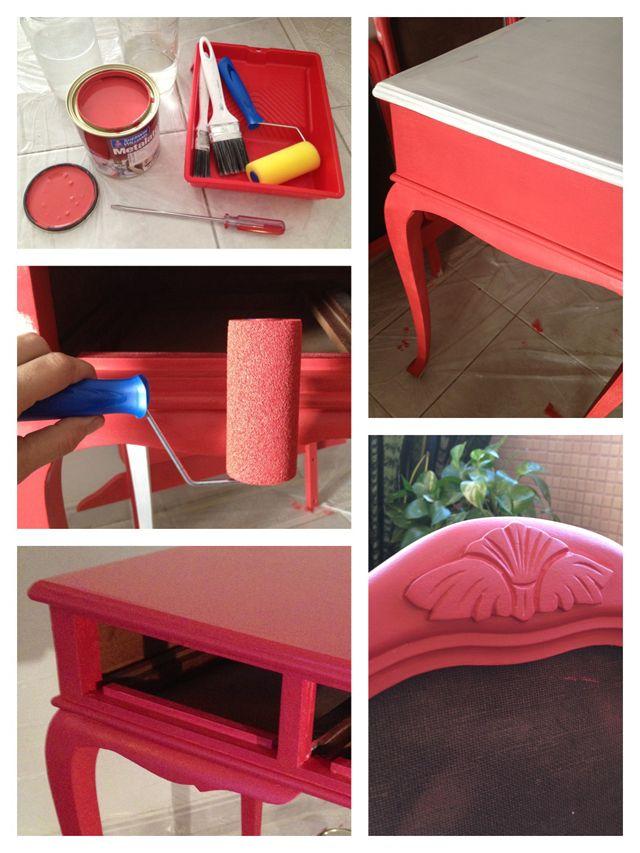 Restaurar aparador antigo na cor verde menta.  http://www.casadecolorir.com.br/2013/05/a-penteadeira-mais-linda-do-meu.html