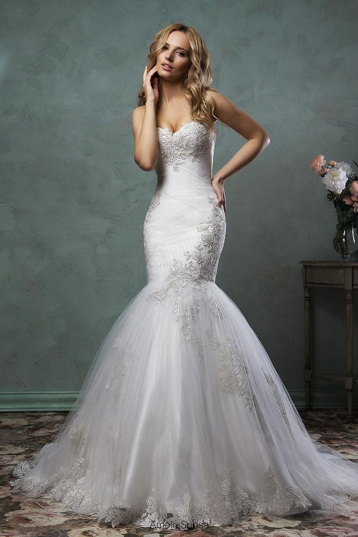 Wedding Dresses For Cheap 2016 Elegant Wedding Dresses By Amelia Sposa Sleeveless Sweetheart Neck Pleated Appliqued Tulle Mermaid Bridal Gowns With Chapel Train Wedding Dreses From Nicedressonline, $217.18| Dhgate.Com
