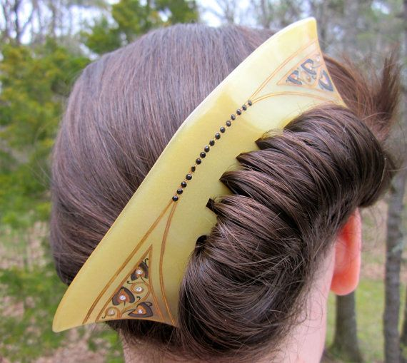 Amazing celluloid hair comb.