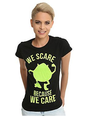 """<div>At Monsters, Inc. we scare because we care. And because it's fun! Take on your next client with this black Disney T-shirt featuring a green Mike Wazowski silhouette with text that reads, """"We scare because we care.""""<br><br>Want the matching tee for your BFF? Click below.<br><a href=""""http://www.hottopic.com/product/disney-monsters-inc.-sully-we-scare-because-we-care-bff-girls-t-shirt/10956140.html"""">Disney Monsters, Inc. Sully We Scare Because We Care BFF Girls…"""