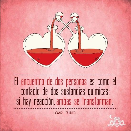 """""""El encuentro de dos personas es como el contacto de dos sustancias químicas: si hay reacción, ambas se transforman."""" #CarlJung #Citas #Frases"""