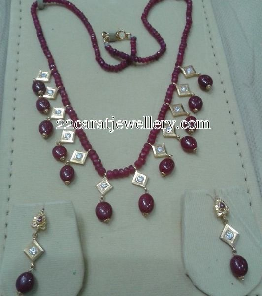 Jewellery Designs: Ruby Beads Set with Drops