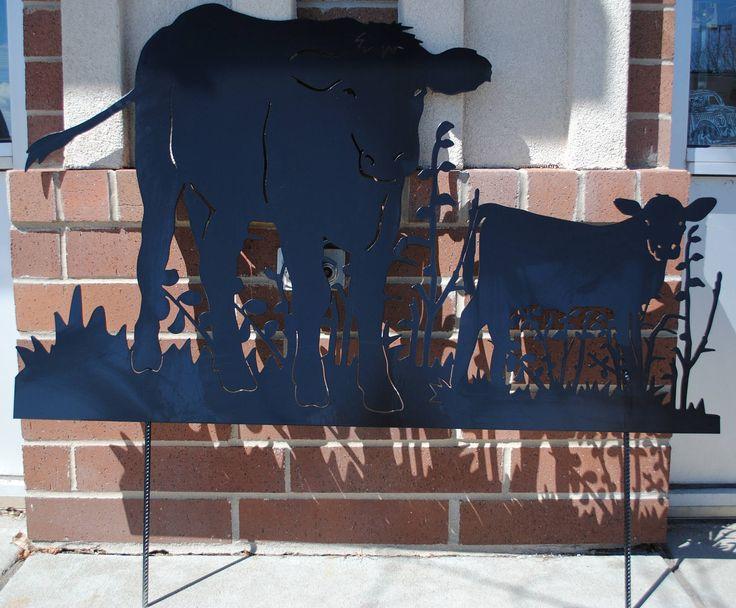 Cow and Calf Metal Yard Art, Cow and Calf, Lawn Yard Art, Garden Art, Homestead Cow, Holstein Cows, Holstein - Friesian Cows, Outdoor Art by CassteenIronworks on Etsy