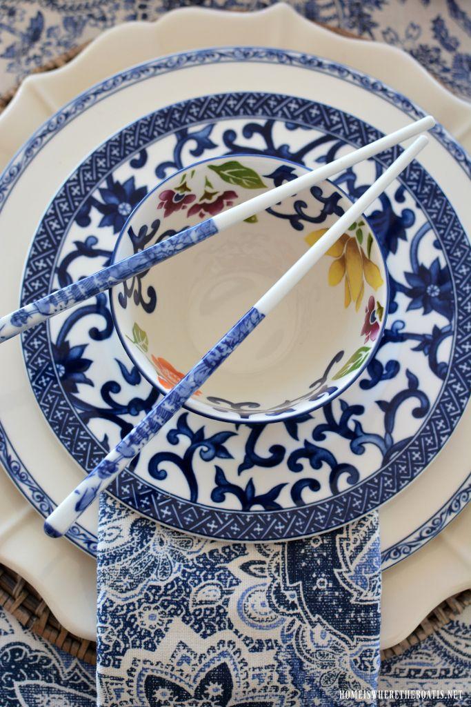 Ralph Lauren Mandarin Blue dinnerware and Chinese New Year Celebration Table | homeiswheretheboatis.net