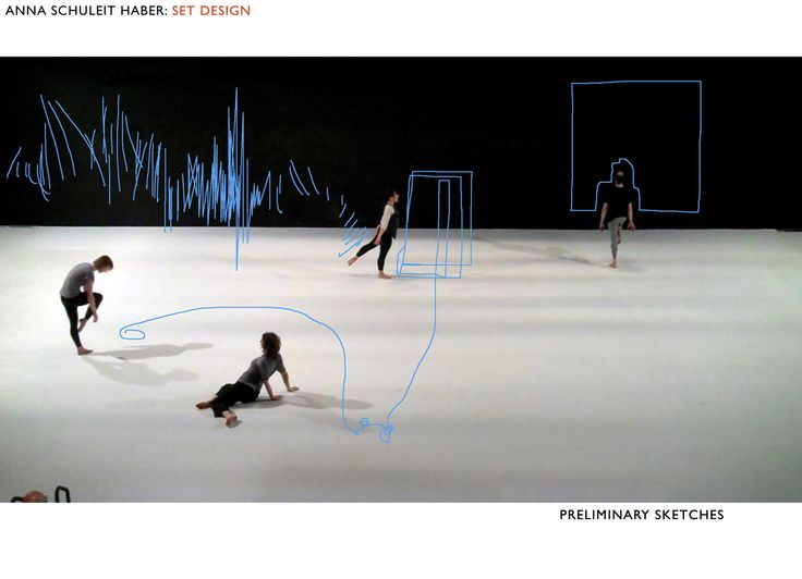 Preliminary drawings for a set-design for dance at New York Live Arts, by Anna Schuleit Haber, using light in real time to create a live drawing all across the stage