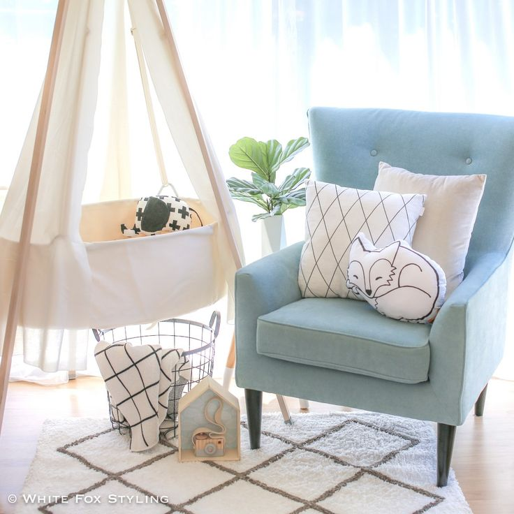 A feeding chair is another great place to add this gorgeous hue into a nursery. Blue cushions on neutral chair always work wonderfully, but for a real statement, a chair upholstered in a soft blue really does look amazing and can add a real wow factor to your room.