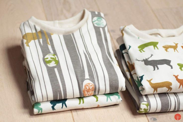 Deer in woods, organic cotton kids jumpers. Birch fabrics