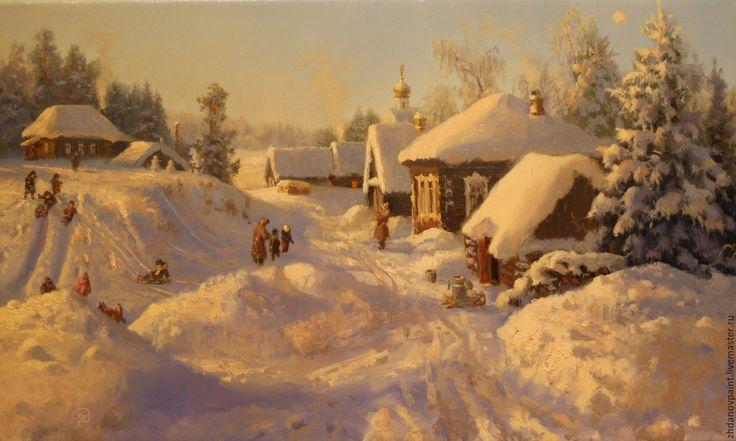 Купить Перед Рождеством. - зима, праздничный стол, рождественский подарок, холст…