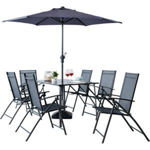 Milan 6 Seater Patio Set Grey Garden Table And Chairs