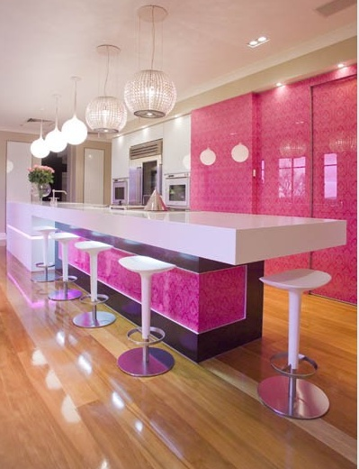 I love pink but don't thinking could do this: Dreams Kitchens, Dreams Houses, Kitchens Design, Contemporary Kitchens, Cupcakes Design, Color, The Angel, Pink Kitchens, Modern Kitchens