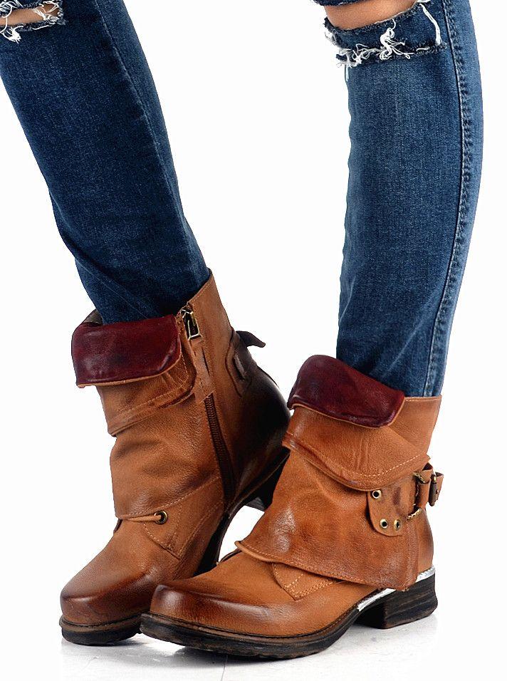 d1b28b58037f7 Women's Shoes - Women Vintage Buckle Rivets Ankle Motorcycle Boots – styleNB