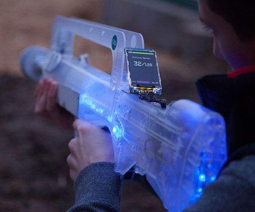 Turn the world into your own personal laser tag arena with the open source laser tag system. The rifle boasts a transparent futuristic look and comes equipped...