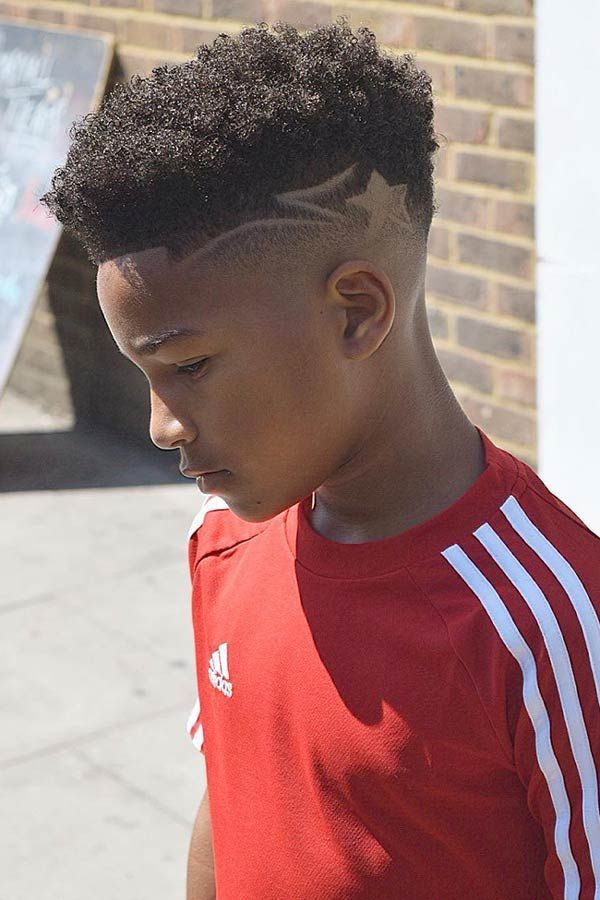 Fade Haircut For Black Boys With Design 105