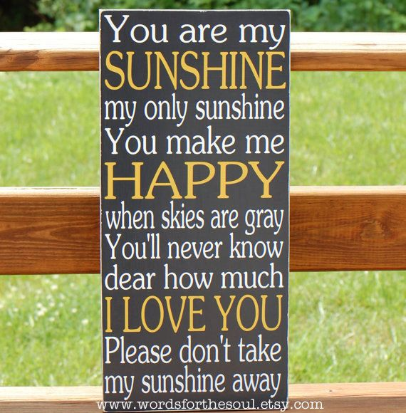 You Are My Sunshine Subway Typography Word Art Wooden Sign Nursery. $50.00, via Etsy.
