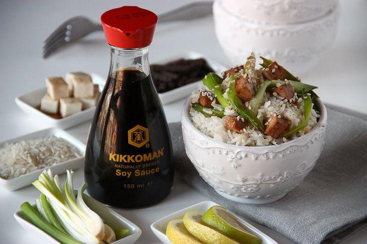Riso #Basmati con #tofu marinato salsa di soia servito con cipollotti caramellati #kikkoman #recipe
