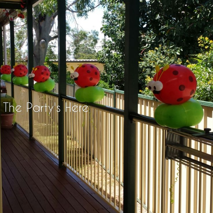 Lady Bug Blossoms for a Baby Shower. Cute alternative to plain old helium balloons with ribbon tied onto the railings. Perfect for outdoor events too, as they aren't affected by wind.   www.thepartyshere.com.au   #baby #balloons #babyshower #newmum #mumtobe #ladybug #ladybee #balloondecorating #balloonartist #balloontwister #garden