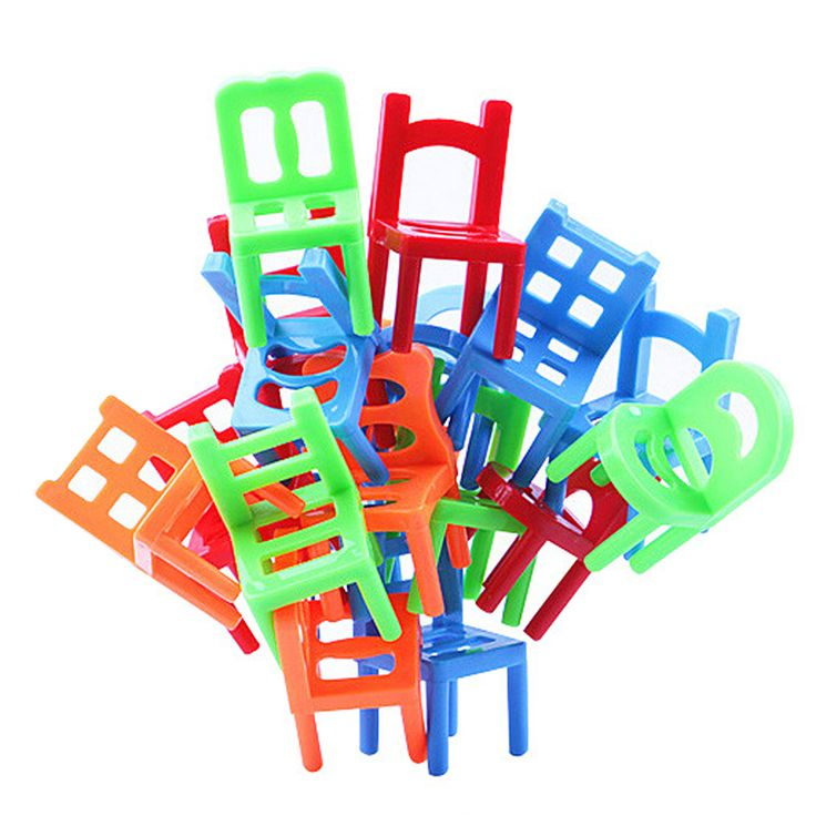 New Plastic Educational Toy Balance  Stacking Chairs for Kids play at desktop really good family Game 1SET 18PCS FCI#