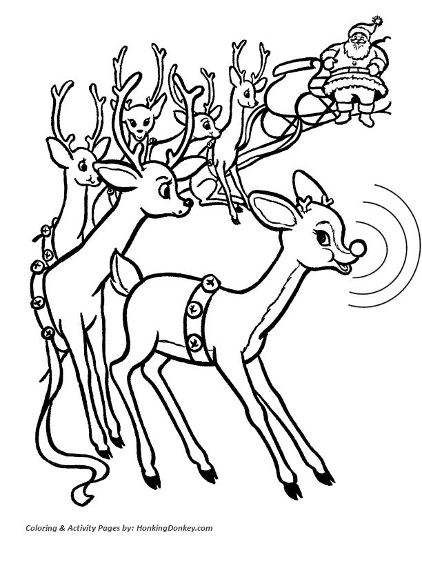 Rudolph Reindeer Coloring Page - Rudolph meets the other Reindeer