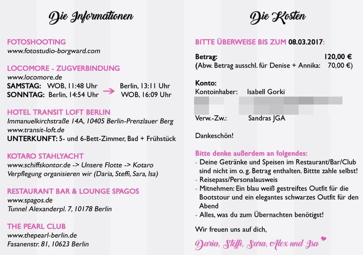 Bacheloretteparty: Einadung / Invitation zum JGA (Junggesellenabschied)