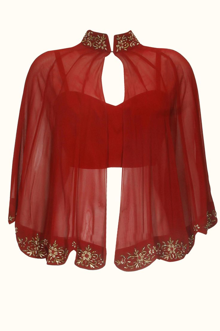 Designer shrug pattern on red blouse.. get it done at http://mytailor.in/