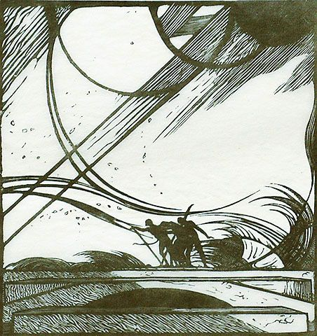 Edward Gordon Craig, storm from King Lear, wood engraving 1920