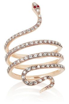 Ileana Makri's exquisite python ring gorgeous. Crafted from 18-karat rose gold and set with beautiful 0.38-carats diamonds and rubies, this delicate piece will make a charming addition to your jewelry box.