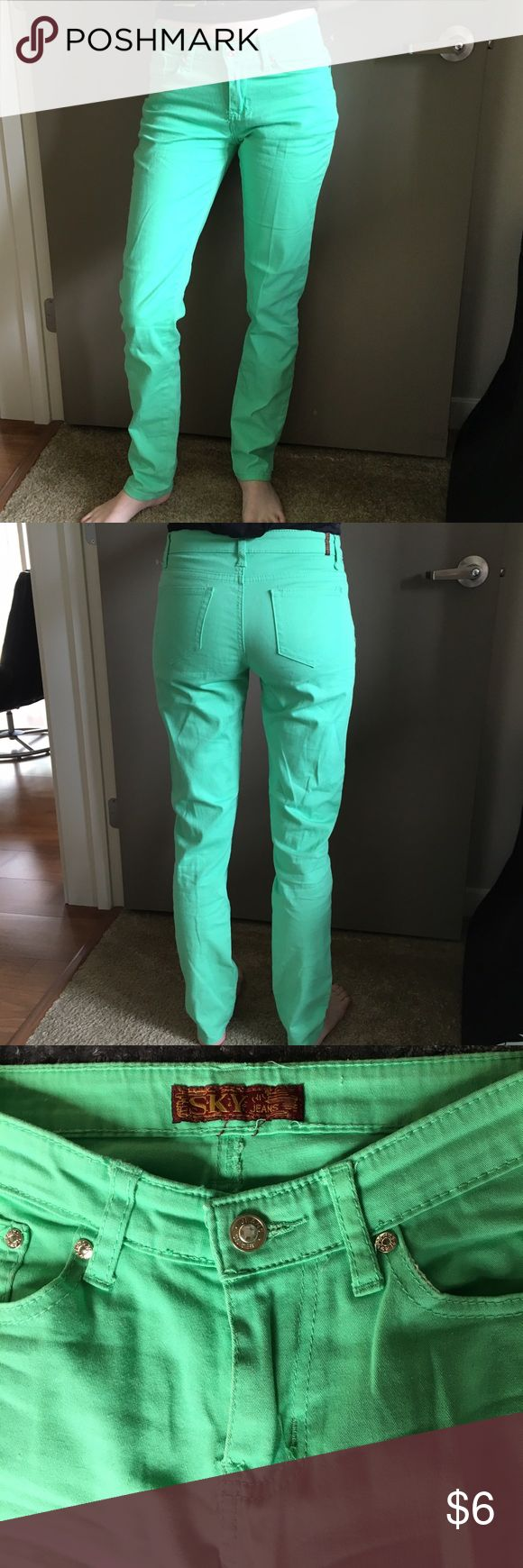 Sky Jeans, Mint Green, Size 7/8 Light material, great for summer time, mint green jeans, with couple very faded shows of wear shown in last picture, otherwise in great gently used condition:) From JCPenny. Sky Jeans Jeans Straight Leg