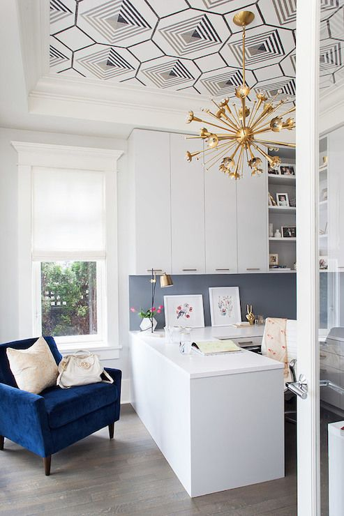 Kelly Deck - Contemporary office with black and white geometric wallpaper on tray ceiling accented ...