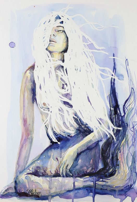"""Saatchi Online Artist: Sara Riches; Watercolor 2013 Painting """"Lady of The Lake"""" #art #mermaid"""