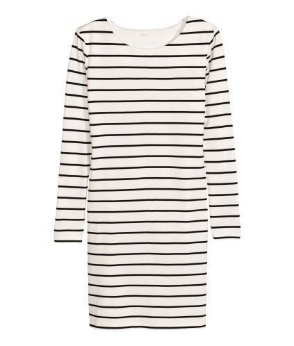 White/black striped. Short dress in thick jersey with long sleeves. Unlined.