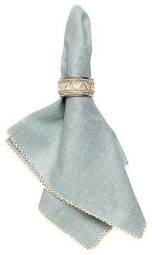 Josephine Linen Cotton Crossweave Napkin - Pistachio transitional-napkins