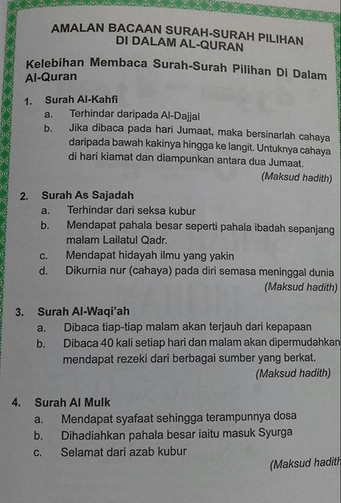 Benefit of Reciting Surah Al-Kahfi, As-Sajadah, Al-Waqiah & Al-Mulk