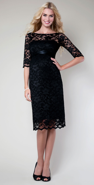 Amelia Lace Maternity Dress Short (Black) by Tiffany Rose