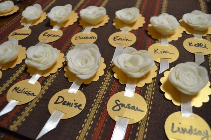Cute MOPS name tags.  Cardstock, ribbon and felt roses.