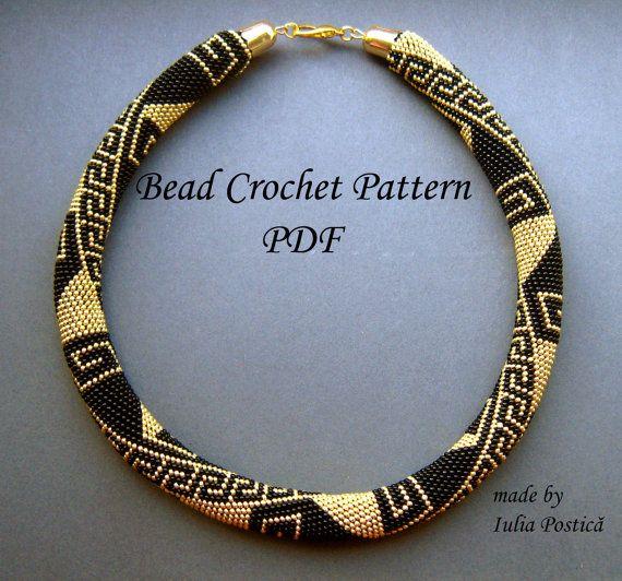 Pattern for bead crochet necklace Greek Meanders by BeadedTreasury